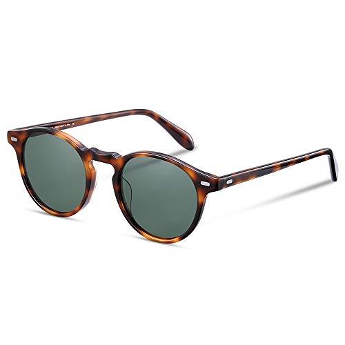 EyeGlow Vintage Round Tortoise Sunglasses Women Sunglasses Men Polarized Lens 5187 Acetate material(Tortois vs green polarized lens, As ()