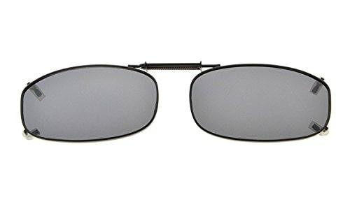 "Eyekepper Metal Frame Rim Polarized Lens Clip On Sunglasses 1 7/8""x1 1/16"" Grey Lens"