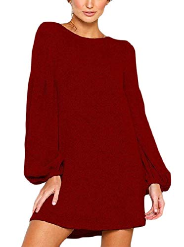Knitwear Long Mini Womens Red AU Sexy Solid Dress Loose Sleeve Autumn QianQian ASOqwg
