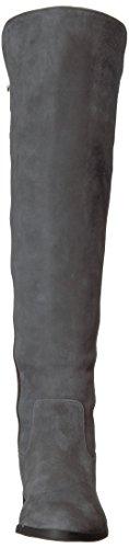 Calvin Klein Frauen Priya Overknee Boot Schiefer / schwarzes Leder / Stretch