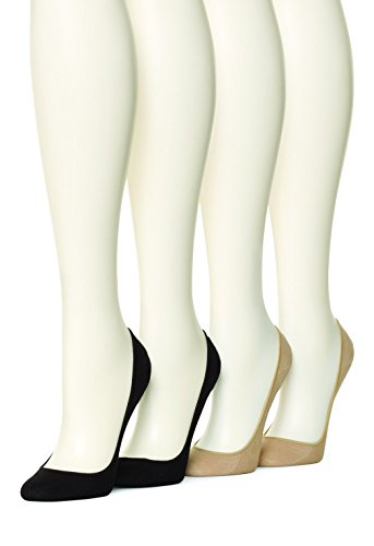 HUE Women's 4 pair pack Cotton Liner, Asst, Medium/Large (Size 2) ()