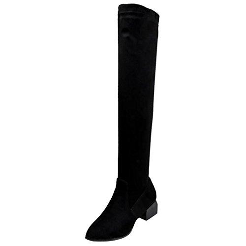 AIYOUMEI Damen Stretch Overknee Stiefel mit 5cm Absatz Chunky Heels Winter Stiefel Schwarz