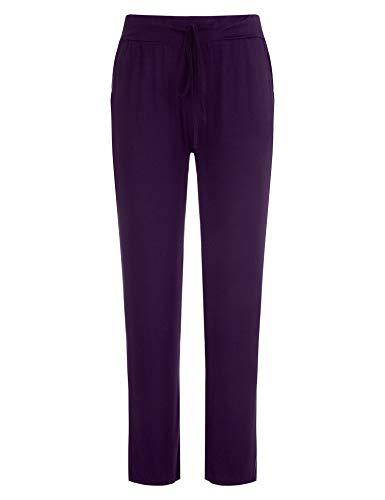 FISOUL Women's Casual Pajama Pants Cotton Comfy Soft Stretch Solid Drawstring Sleep PJ Bottoms Lounge PantsPurpleXX-Large