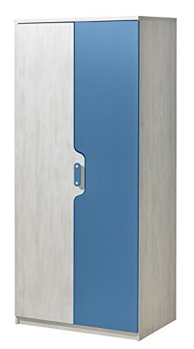 Kinderzimmer - Drehtürenschrank / Kleiderschrank Justus 01, Farbe: Kiefer Blau - Abmessungen: 183 x 80 x 52 cm (H x B x T)