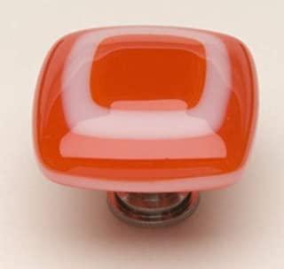 product image for Luster Square Knob Base Finish: Polished Chrome, Color: Pimento