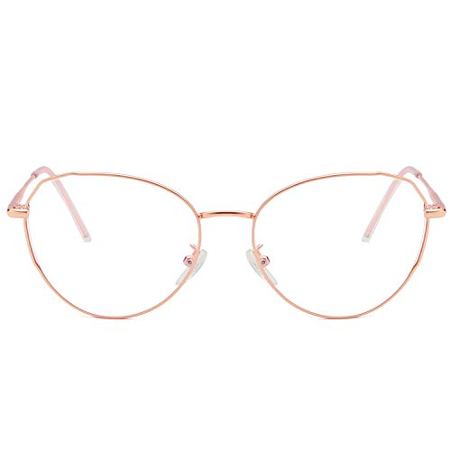 SOJOS Blue Light Blocking Glasses Cateye Eyeglasses Frame Anti Blue Ray Computer Game Glasses SJ5039 with Rose Gold Frame/Anti-Blue Light Lens