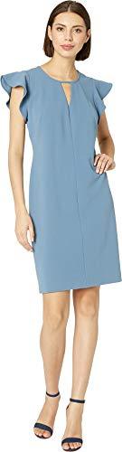 VINCE CAMUTO Womens Flutter Sleeve Crepe Ponte Keyhole Dress Dusty Blue XL