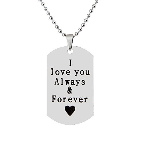 [I Love you Always and Forever Necklace with Stainless Steel Ball Chain Romantic Gift for Lovers (Love] (Necklace Love Beads)