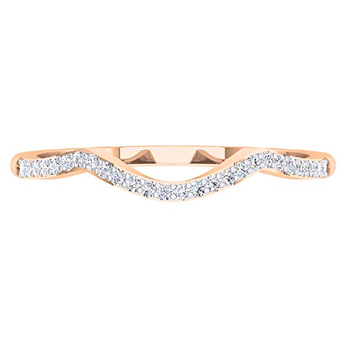0.12 Carat (ctw) 10K Rose Gold Round Diamond Wedding Stackable Band Contour Guard Ring (Size 7)