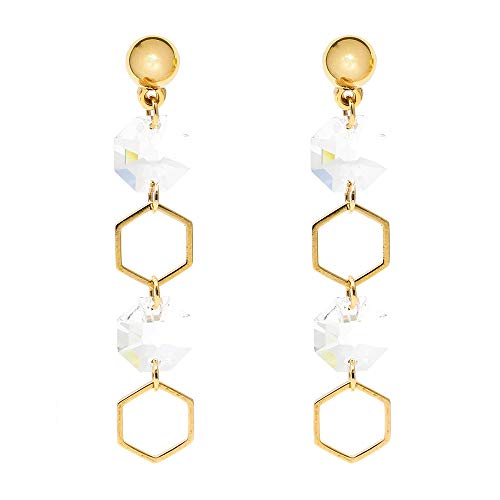 (Delice N Delight Swarovski Collection Gold Plating Tiffany Style Metal ball Drop Earring)