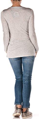 Frogbox - Camiseta de manga larga - para mujer gris