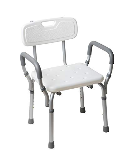- Lifestyle Solutions Durable Adjustable Medical Shower Chair with Back and Arm Rests; Quick-Release; Non-Slip; Lightweight; Corrosion Proof; Equipped with Drain Holes;