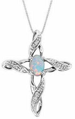Diamond & Opal Cross Pendant Necklace Set In White Gold Plated or Yellow Gold Plated Silver
