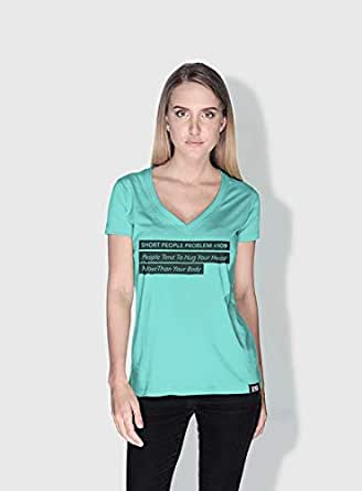 Creo Short People Problem Funny T-Shirts For Women - L, Green