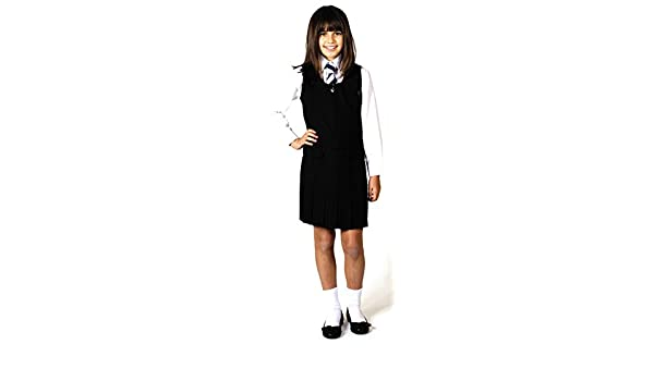 Pleated all round School Pinafore Two Button Zip Front