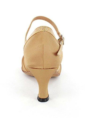 Evening Moderm Dance Mid Satin Shoes Bronze MINITOO Latin Wedding Women's Sandals Ruched Heel zxqqRA4