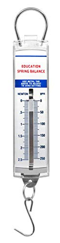 (Premium Spring Balance, 0-500g / 0-5N - High Resolution, Dual Transparent Scale, Newtons & Grams - Zero Calibration Capability - Acrylic Body, Superior Quality & Finish - Eisco Labs)