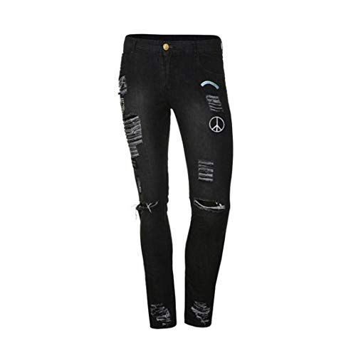 Biker Estilo Closure Uomo Hrenjeans Jeans Especial 88 Estate Fashion Distressed Frayed Long Pants Bobo Ssig Nero Skinny Pantaloni Workout Slim qwXffvY