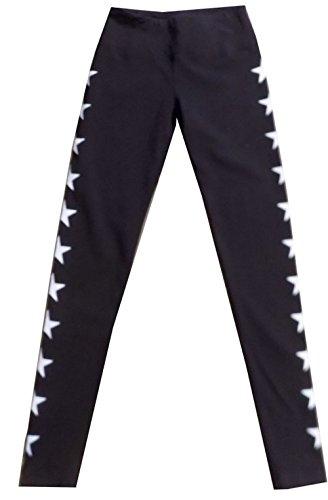 Hard Tail Flat Waist Star Ankle Legging - Black (L, Black)