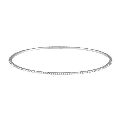 Jewels By Lux 14k White Gold 1 CTW Diamond Stackable Bangle Bracelet