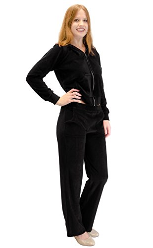 Velour Hoodie Sweat Suit Jacket and Pants Set (Black, 2X)
