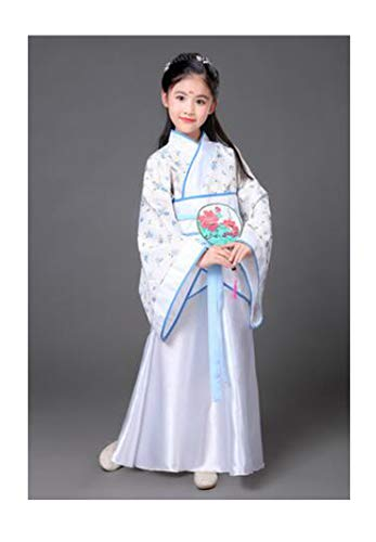 Children Beautiful Dance Costume Princess Dress Fairy Clothing Traditional Chinese Clothing for Kids Hanfu Tang Dynasty Dress,White Flower2,7Th -