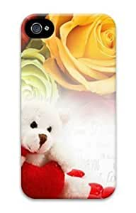 E-luckiycase PC Hard Shell Valentine Bear and Roses for Iphone 4 4s 3D Case