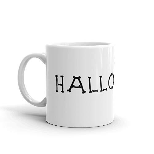 Bone Halloween Script Font Hand Written, Boo, Party, Costume, halloween costume, halloween party, party costume Mug 11 Oz White Ceramic -