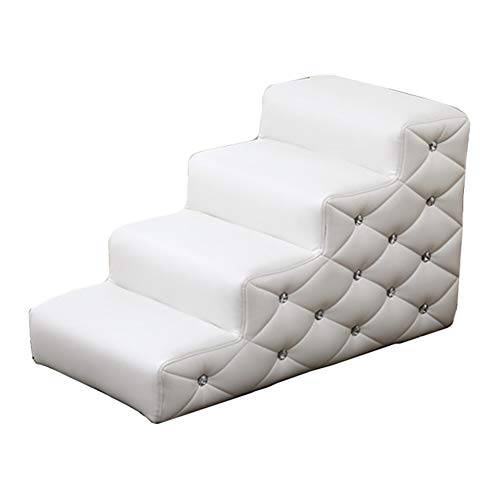 LXLA - Waterproof 4-Step Dogs Stairs, for All Large and Small Dogs/Cats, Great for Couch and High Bed, 80 × 40 × 48cm (Color : White)