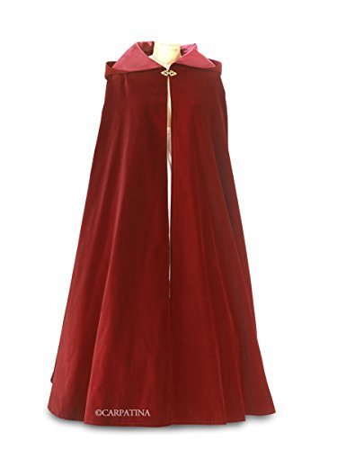 Burgundy Wine Velvet Cloak with Hood ~ Adult Size (Lg- Xlg) - Made in USA by Carpatina - Renaissance Fashions