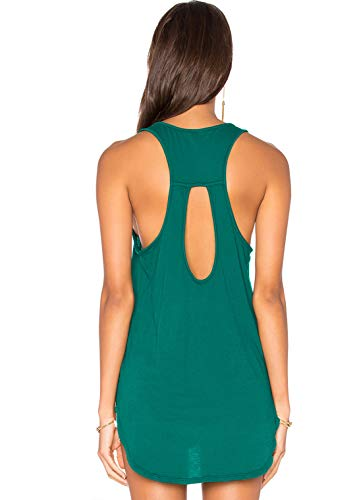 (Muzniuer Women's Backless Loose T Shirt Keyhole Tank Top Blouse Stretchy Soft Backless Long Tank Hi-Lo Tunic Top Open Back Summer Workout Tank Tops DarkGreen M)