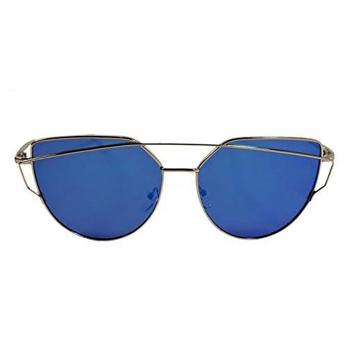 db0c76e2c1ba Hipster Unike Aviator Cat Eye Mirrored Reflective Men Women Sunglasses  Fashion Design Gold Frame & Blue