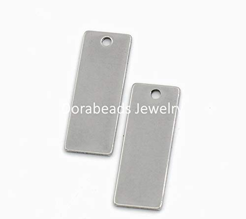 Tone Rectangle Pendant - Lovely Stainless Steel Blank Stamping Tags Pendants Rectangle Silver Tone 25x9mm,20PCs (B22464)
