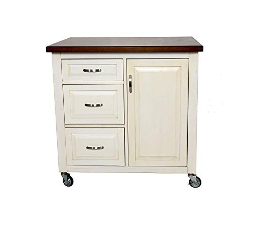 Wood & Style Furniture Kitchen Cart, Medium, One Size, Distressed Antique White with Chestnut top Home Office Commerial Heavy Duty Strong Décor