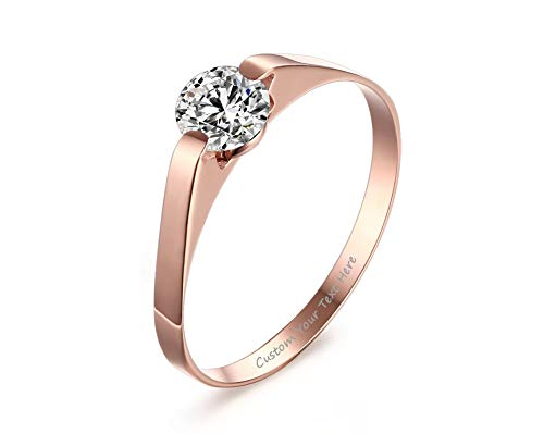 Stainless Steel Tension Set Ring - VNOX Customize Stainless Steel Cubic Zirconia Tension Set Rose Gold Plated Brilliant Wedding Engagement Ring,Size 7