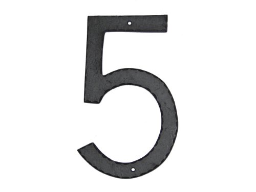 Montague Metal Products Textured Font Individual House Number, 5, 10-Inch
