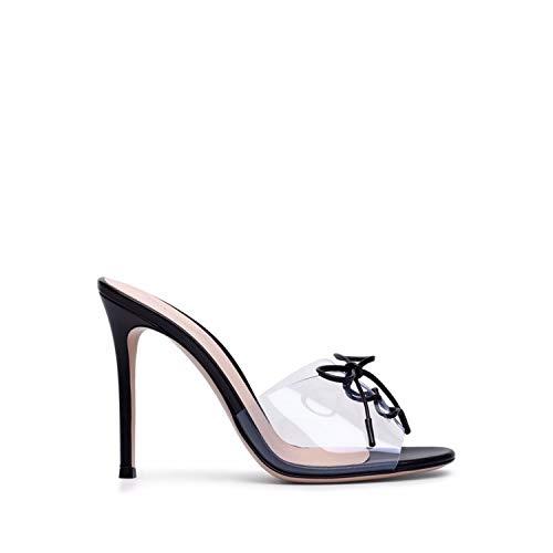 Transparent High Heel Mules PVC Peep Toe Lace up Sandals Heels Ladies Stiletto Heel Shoes 2018,Black,15