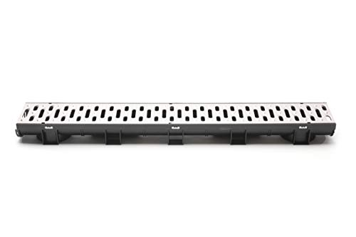 Compact Trench Drain Black Polymer with Pressed Galvanized Steel Grate - 3 x 3.33 Ft (10ft) Pack with 2 End Caps (Trench Section)