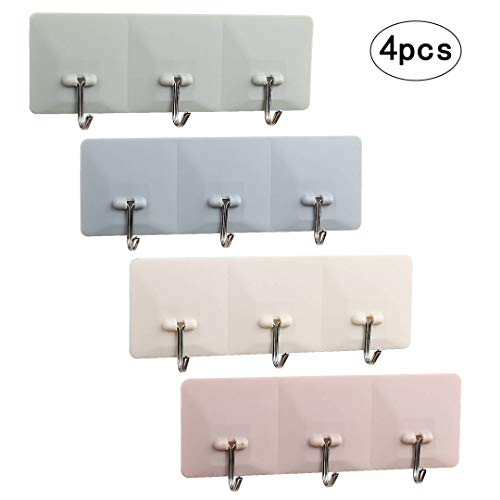 LANMOK 4 Pcs Self Adhesive Plastic Hook Rack Wall Mounted Ha