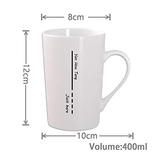 Yan Hou Tang Simple and Plain Solid Line White Mug Cup Packed 4 for Coffee Juice Tea Hot Cold - 400ml 14oz Serving Carving Crafts Style for Home Office Club Pup Party Drink Cheers