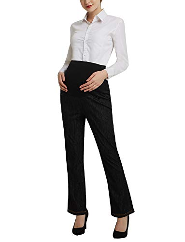 Women's Maternity Bootcut Jeans Stretch Pants Secret Fit Belly Trousers Black M by Bhome