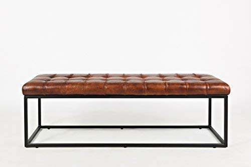 Leather Ottoman Bench in Saddle Finish