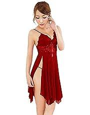 Pajamas Lace Sexy Lingerie Women's Pajamas Mesh Chemise Nighty Ladies Sheer Erotic Underwear Siamese Babydoll Teddy Softer Seductive,Red,M