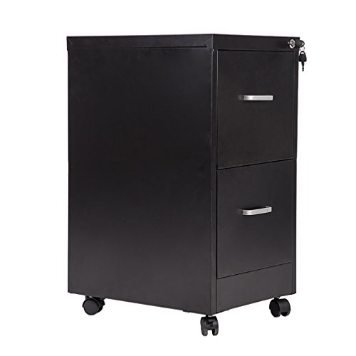 """Bestmassage 18"""" Wide 2 Drawer Letter Size Steel File Cabinet With Lock And 4 Wheels"""