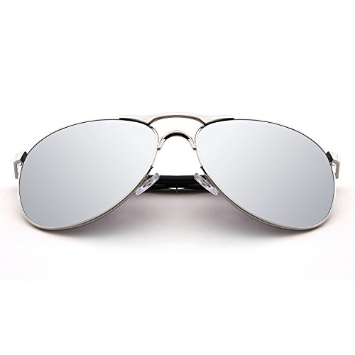 HDCRAFTER Classic Aviators Metal Frame Mirrored Lens Sunglasses Polarized - At Night Sunglass