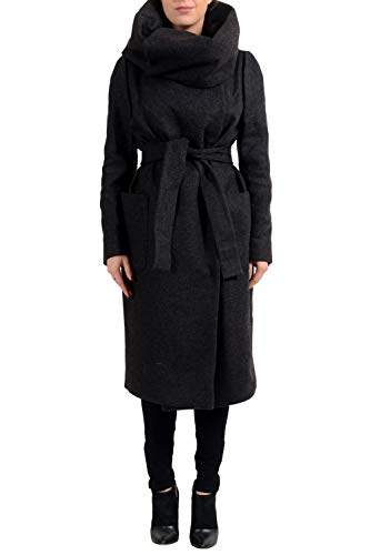 Max Mara Atelier Women's FINANZA Gray Belted Wool Angora Coat US 12 IT 46
