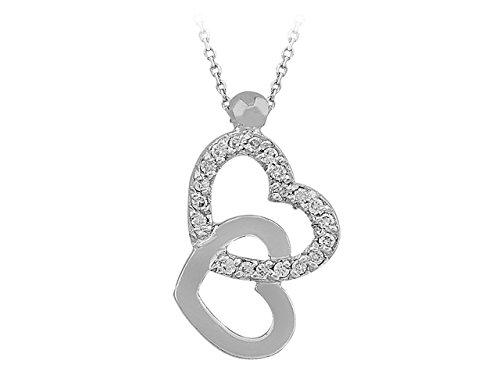 Birgie Diamants et Bijoux - Pendentif Coeur de Diamants imbriqués-Femme- or Blanc 201P0074