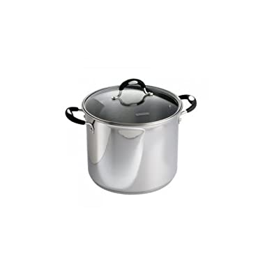 Tramontina 12 Qt. 18/10 Stainless Steel Stockpot With Heat & Shatter-Resistant Glass Lid And Soft-Grip Handles