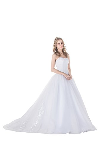 Simple Strapless Sweetheart Ball Gown Tulle Wedding Dress