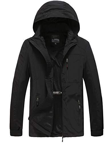 (Pinkpum Men's Hooded Lightweight Windbreaker Jacket Black 3XL)